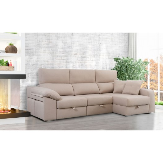 Sof chaise longue ega deslizante a cama en tela con env o for Sofa cama chaise longue