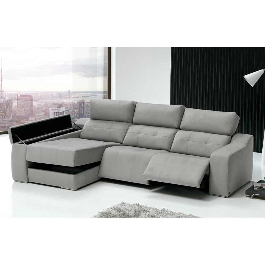 Chaise longue relax eva gran dise o en piel con arc n y for Sofa piel chaise longue