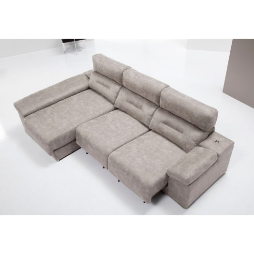 Sof chaise longue cama yoko flexos y pouf exclusivo con for Sofas de piel con chaise longue