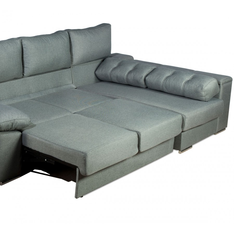 Sof chaise longue convertible en cama gran oferta y for Sofas de piel con chaise longue